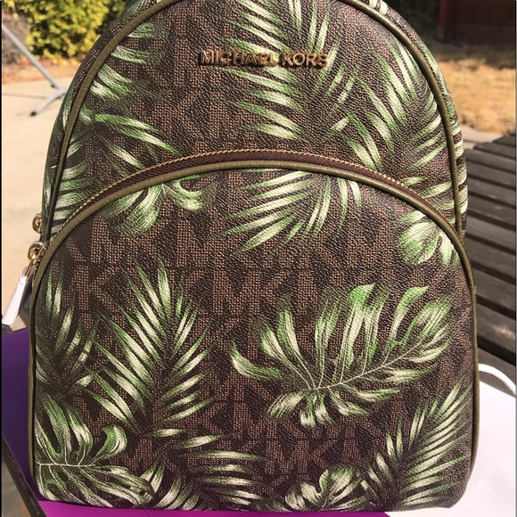 70ec75ee004c Michael Kors Bags | Abbey Backpack Brown Olive Leaves Nwt | Poshmark